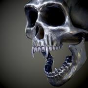 Stalen schedel met hoektanden 3d model