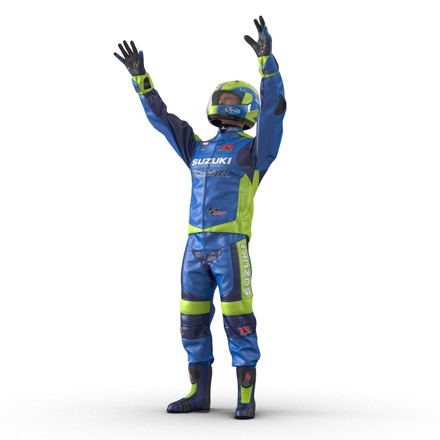 Cinema 4D için Donanımlı Motosiklet Sürücüsü royalty-free 3d model - Preview no. 5