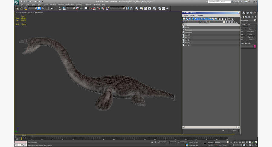 Plesiosauria Dinosaur Attacks Pose Modèle 3D royalty-free 3d model - Preview no. 16