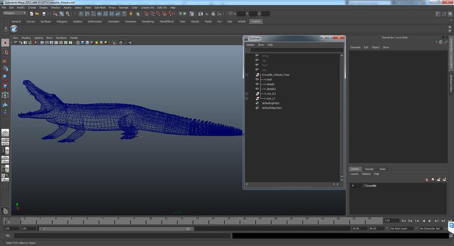 Crocodile Attacks Pose Modèle 3D royalty-free 3d model - Preview no. 14