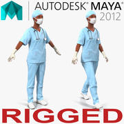 女外科医生非洲裔美国人玛雅3D模型的鲜血 3d model