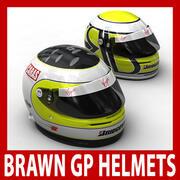Rubens Barrichello and Jenson Button F1 Helmets  3d model