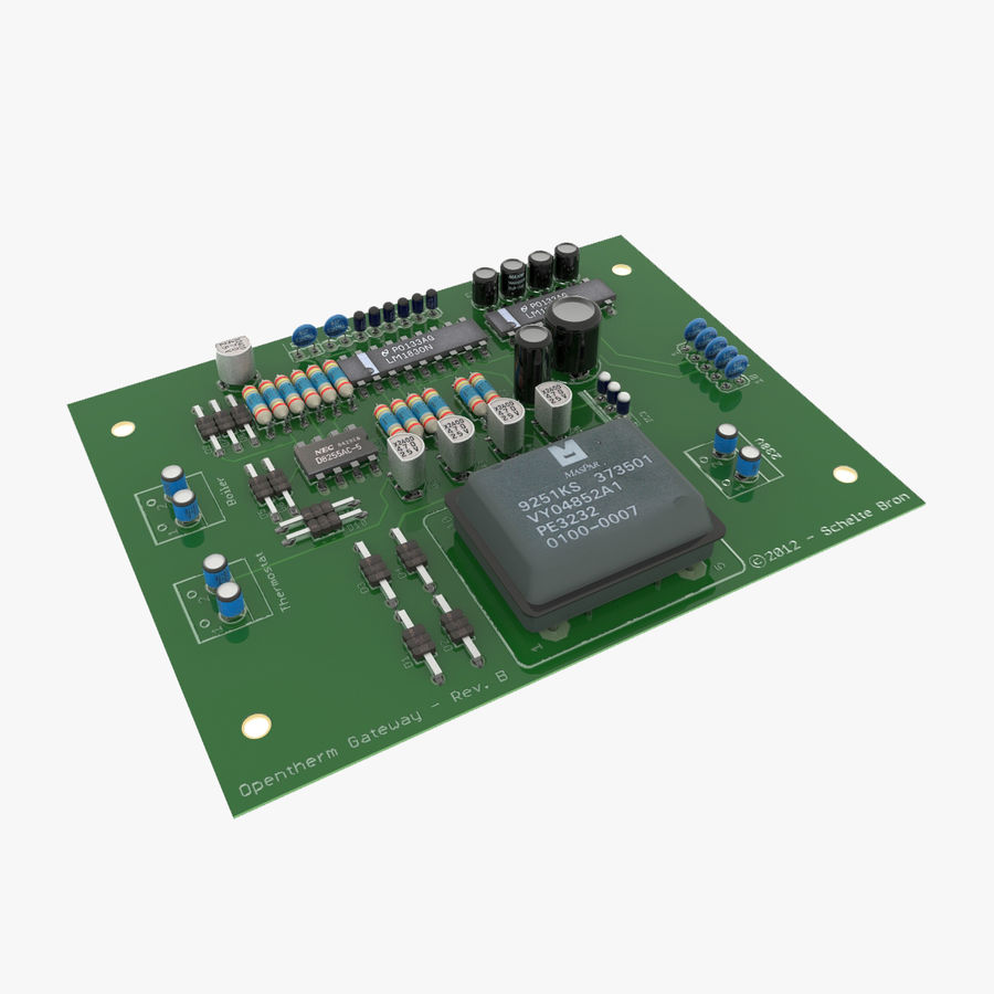 Electronic PCB 2 royalty-free 3d model - Preview no. 1