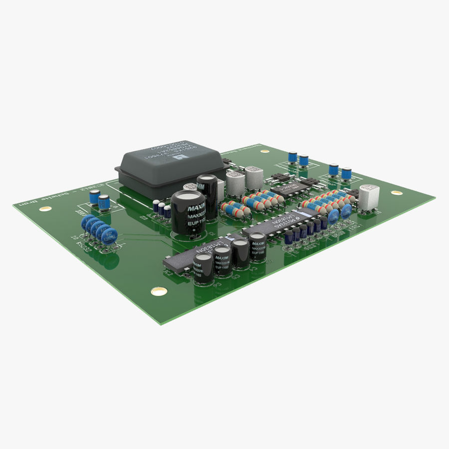 Electronic PCB 2 royalty-free 3d model - Preview no. 2