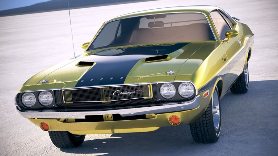 Dodge Challenger 1970 with interior royalty-free 3d model - Preview no. 2