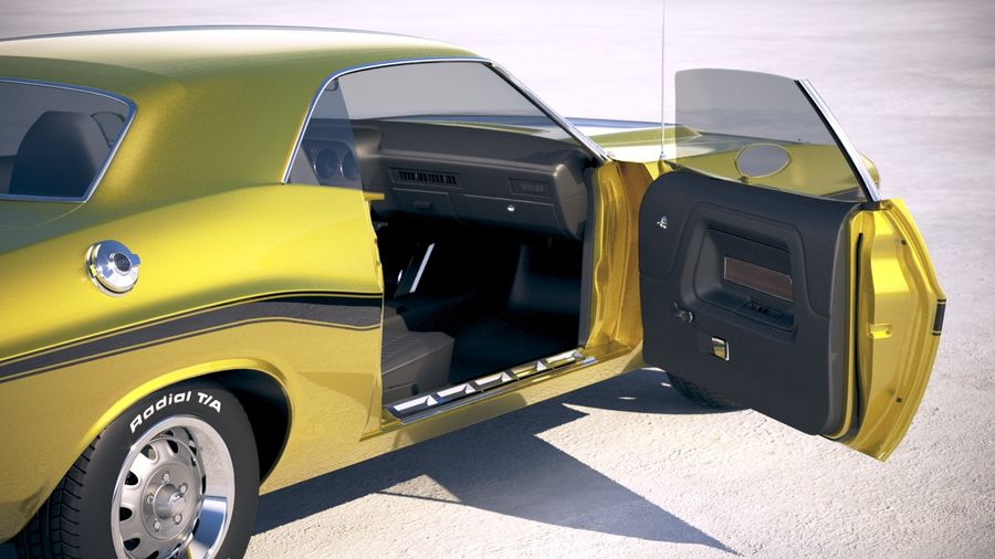 Dodge Challenger 1970 with interior royalty-free 3d model - Preview no. 19