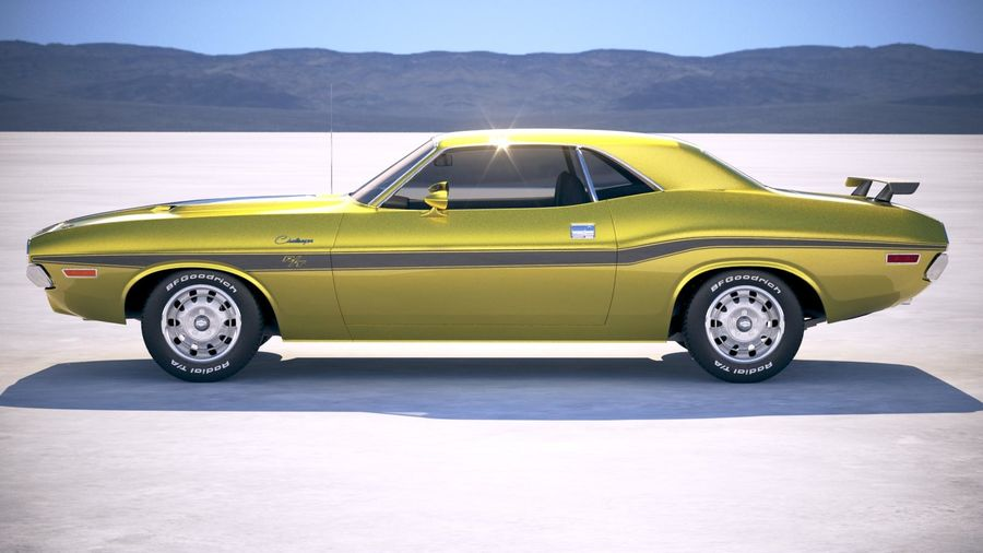 Dodge Challenger 1970 with interior royalty-free 3d model - Preview no. 7