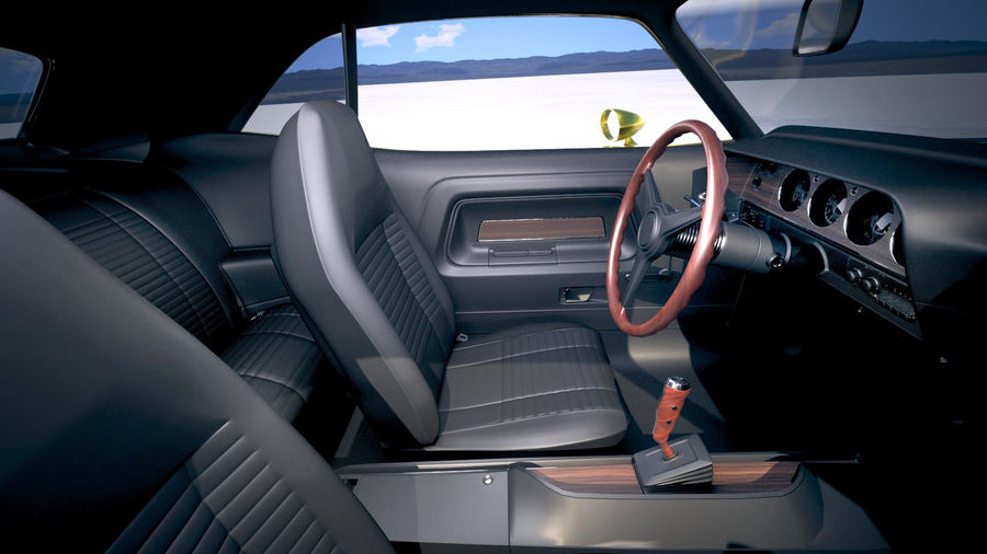 Dodge Challenger 1970 with interior royalty-free 3d model - Preview no. 18