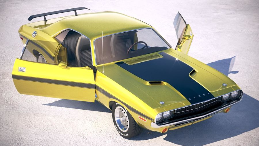 Dodge Challenger 1970 with interior royalty-free 3d model - Preview no. 20