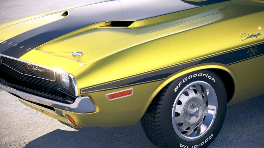 Dodge Challenger 1970 with interior royalty-free 3d model - Preview no. 3