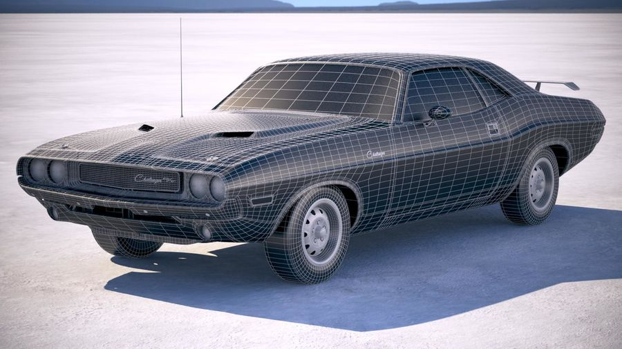 Dodge Challenger 1970 with interior royalty-free 3d model - Preview no. 24