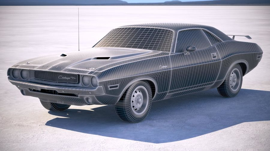 Dodge Challenger 1970 with interior royalty-free 3d model - Preview no. 22