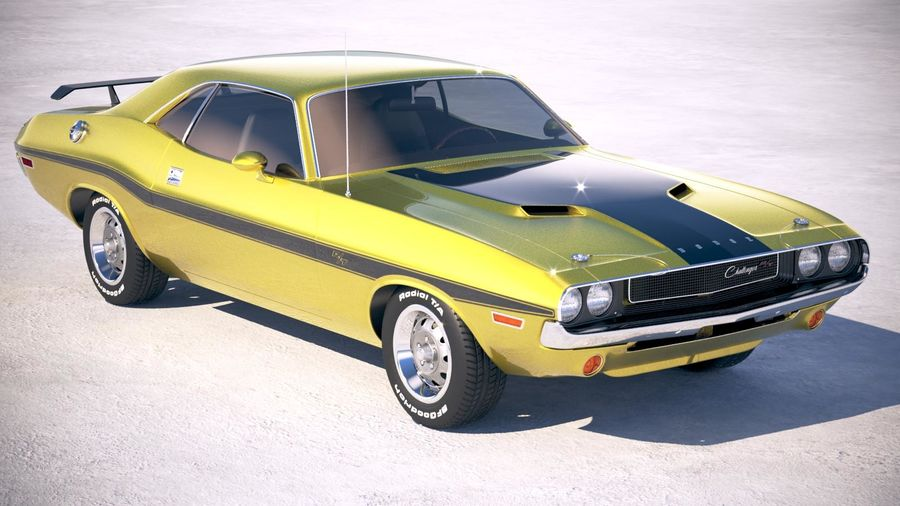 Dodge Challenger 1970 with interior royalty-free 3d model - Preview no. 12