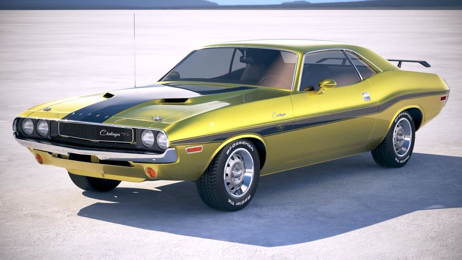 Dodge Challenger 1970 with interior royalty-free 3d model - Preview no. 1