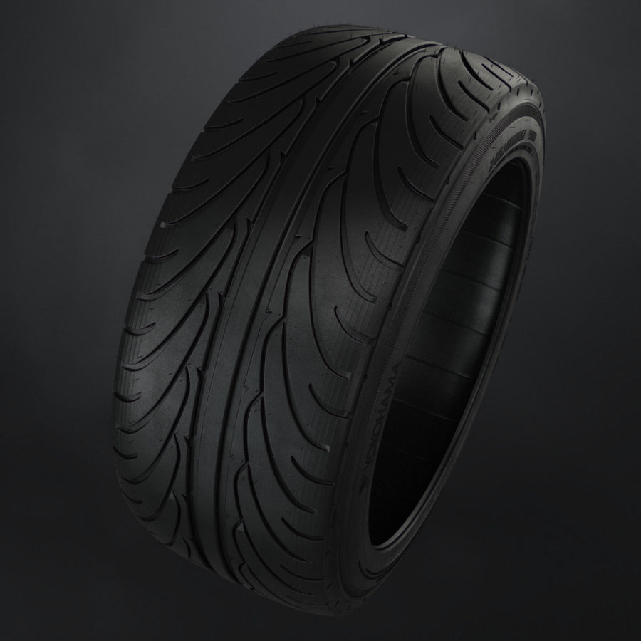 Tire Yokohama avs es100 + Brembo brake system royalty-free 3d model - Preview no. 6
