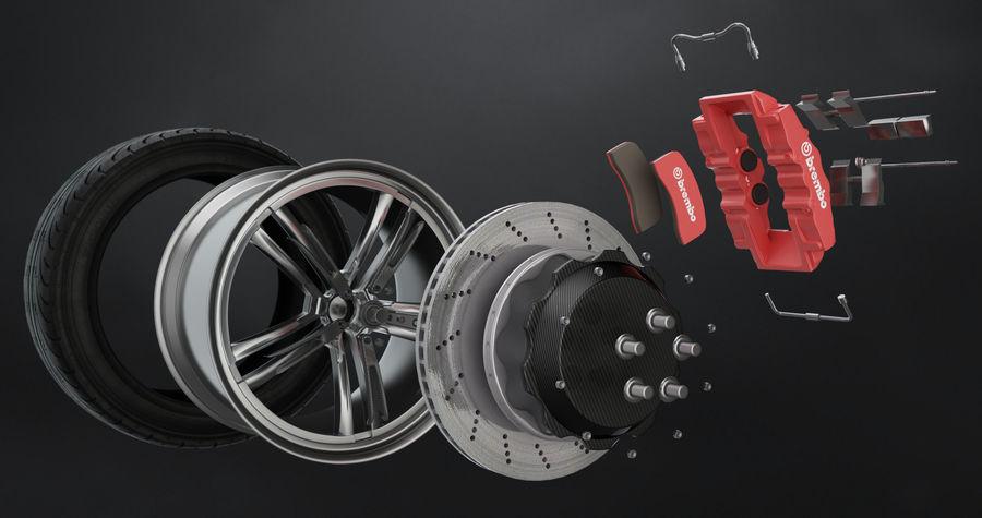 Tire Yokohama avs es100 + Brembo brake system royalty-free 3d model - Preview no. 2