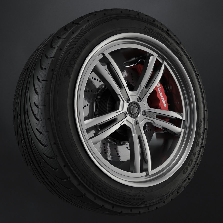Tire Yokohama avs es100 + Brembo brake system royalty-free 3d model - Preview no. 1