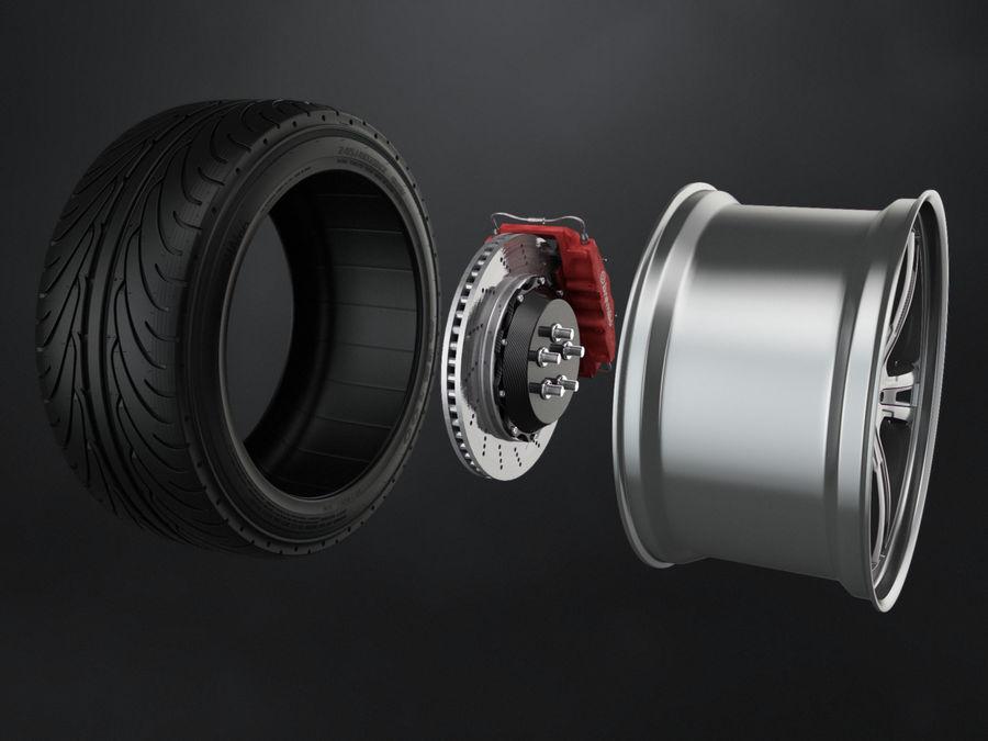 Tire Yokohama avs es100 + Brembo brake system royalty-free 3d model - Preview no. 3
