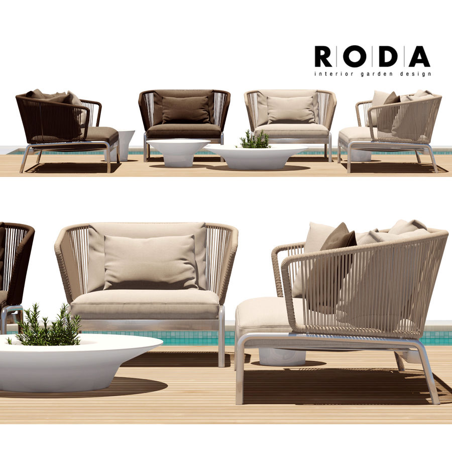 Sofá para área externa RODA SPOOL royalty-free 3d model - Preview no. 2
