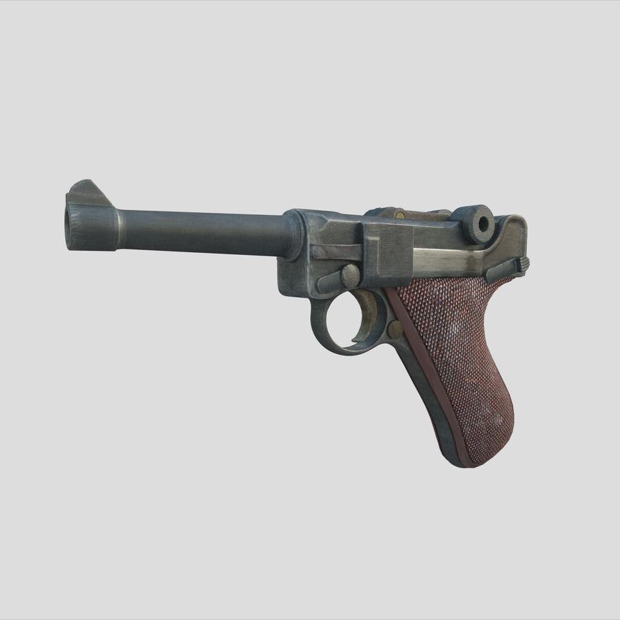 Люгер немецкий пистолет Второй мировой войны royalty-free 3d model - Preview no. 1