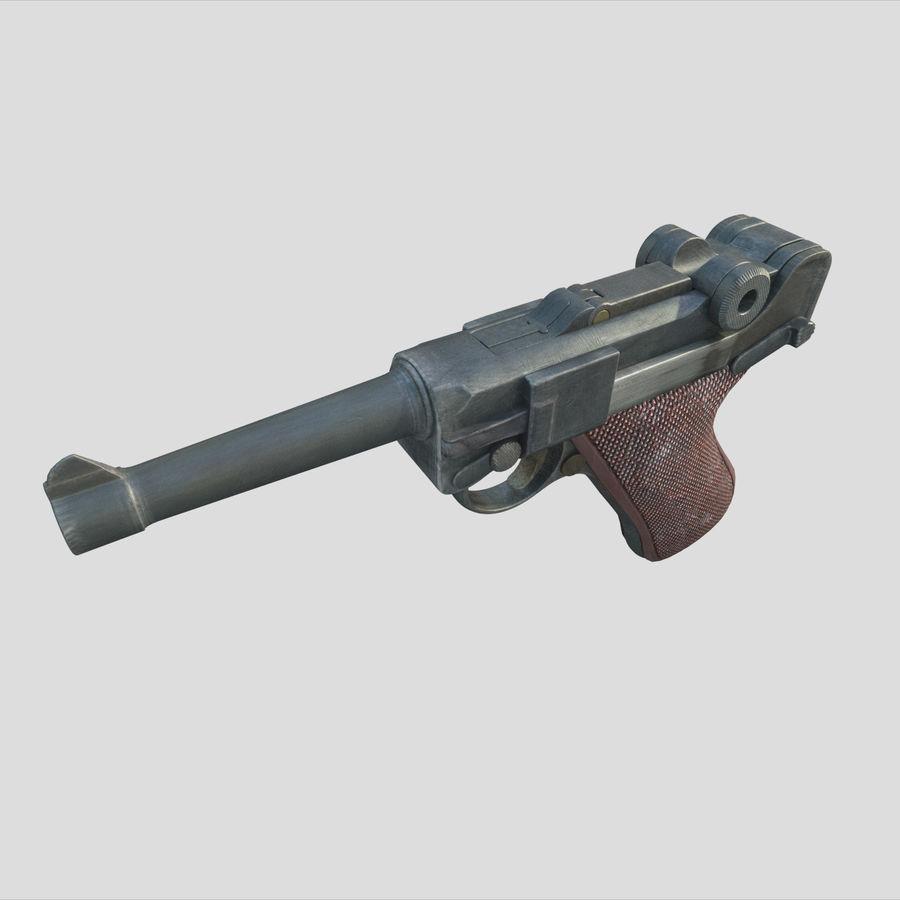 Люгер немецкий пистолет Второй мировой войны royalty-free 3d model - Preview no. 3
