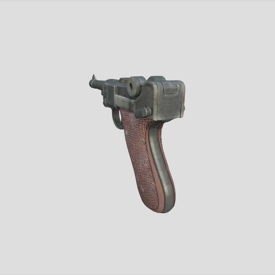 Люгер немецкий пистолет Второй мировой войны royalty-free 3d model - Preview no. 5