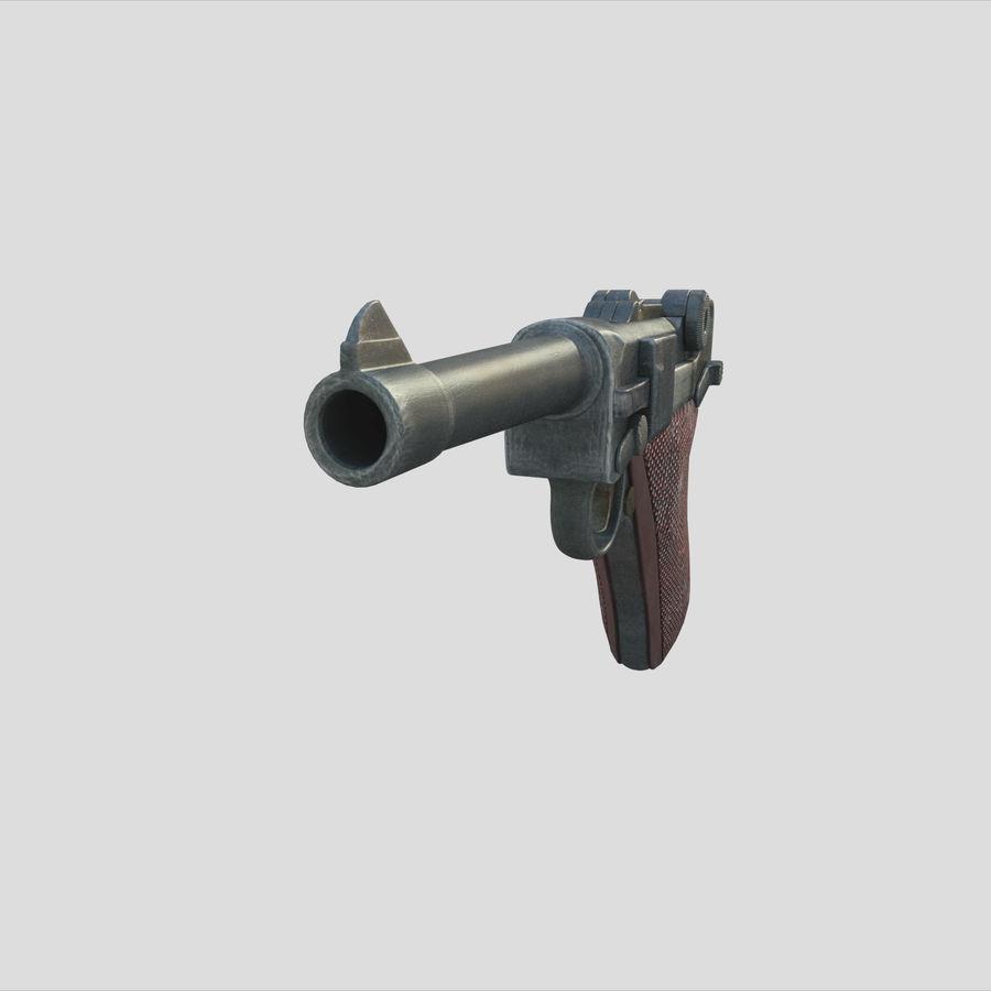 Люгер немецкий пистолет Второй мировой войны royalty-free 3d model - Preview no. 4