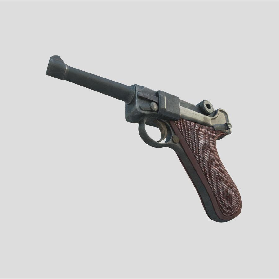 Люгер немецкий пистолет Второй мировой войны royalty-free 3d model - Preview no. 2