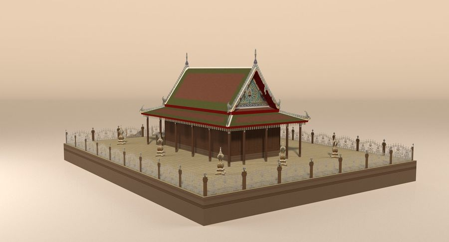Asian temple royalty-free 3d model - Preview no. 5