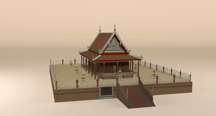 Asian temple royalty-free 3d model - Preview no. 3