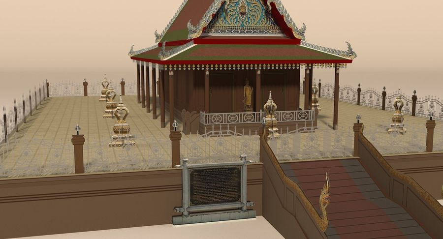 Asian temple royalty-free 3d model - Preview no. 9