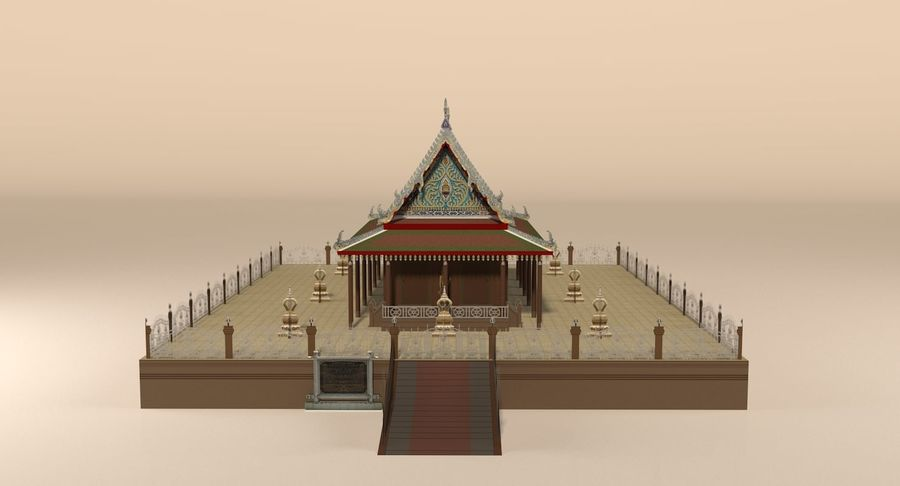 Asian temple royalty-free 3d model - Preview no. 4