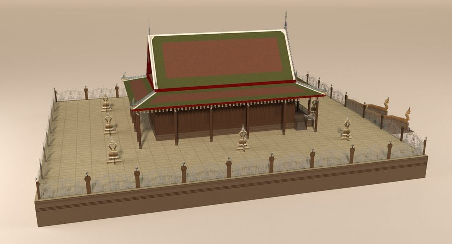 Asian temple royalty-free 3d model - Preview no. 7
