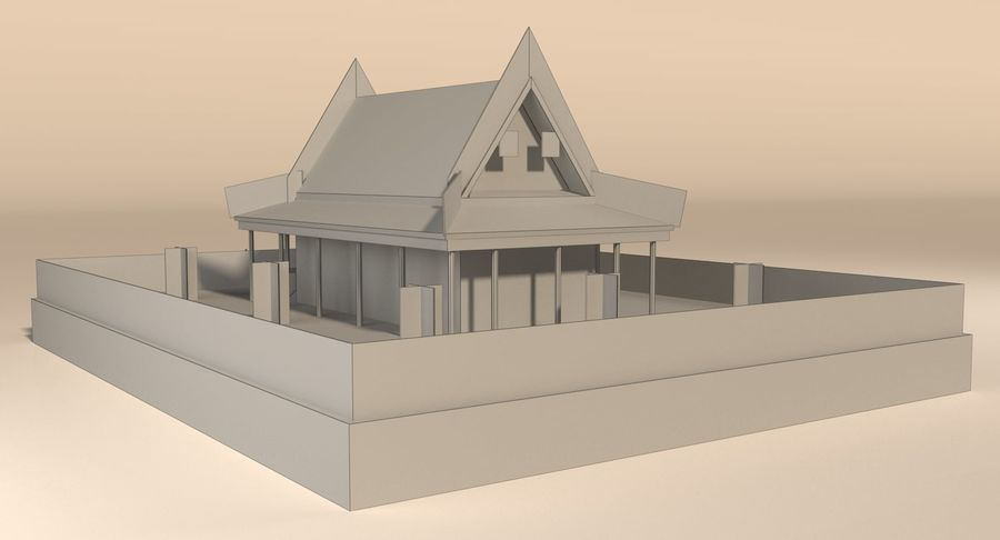 Asian temple royalty-free 3d model - Preview no. 14