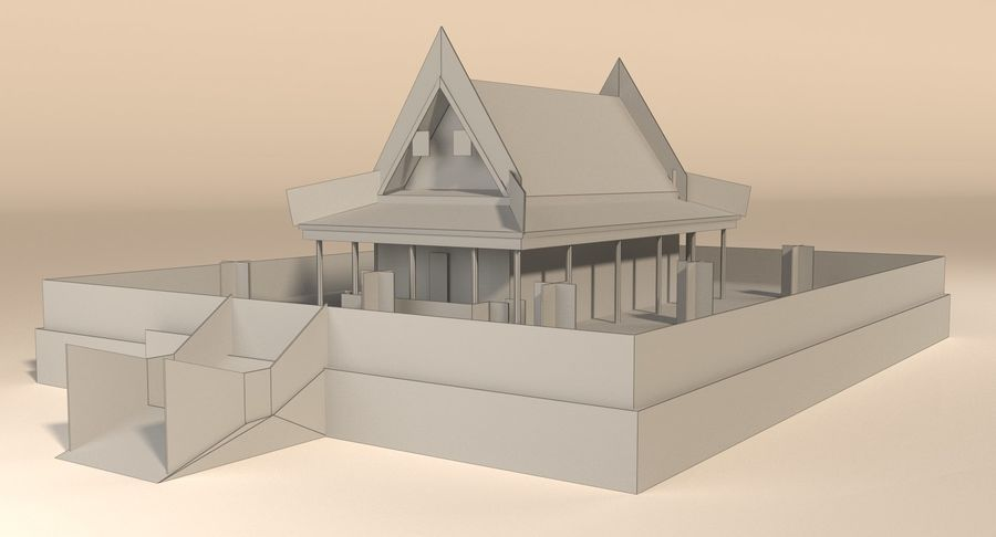 Asian temple royalty-free 3d model - Preview no. 13