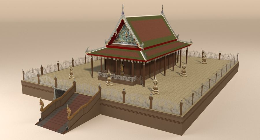 Asian temple royalty-free 3d model - Preview no. 2