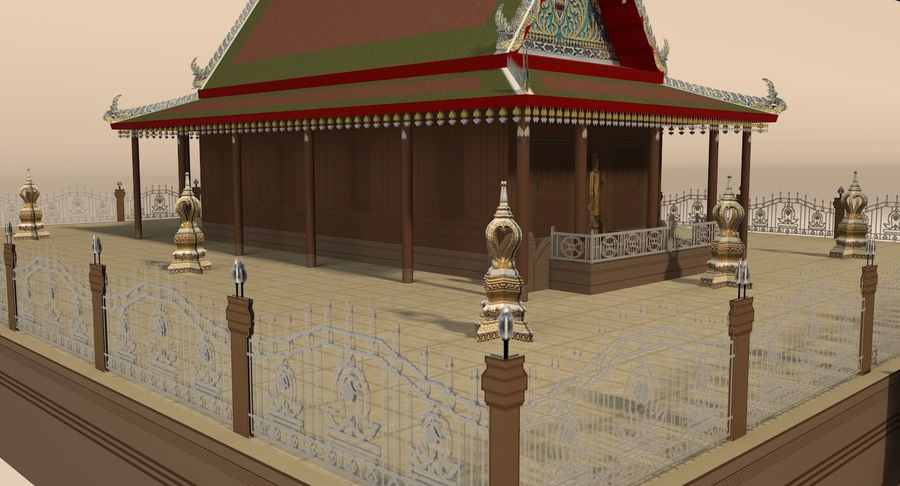 Asian temple royalty-free 3d model - Preview no. 10