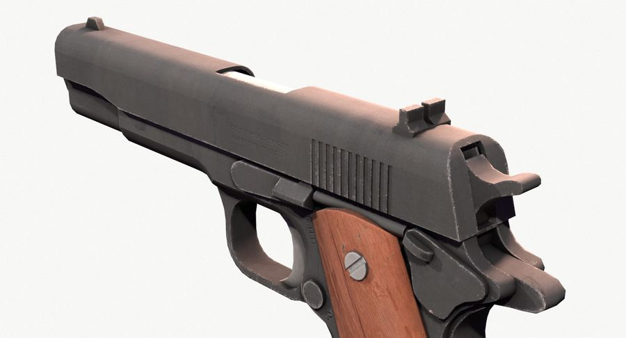 Colt 1911 Pistool royalty-free 3d model - Preview no. 7