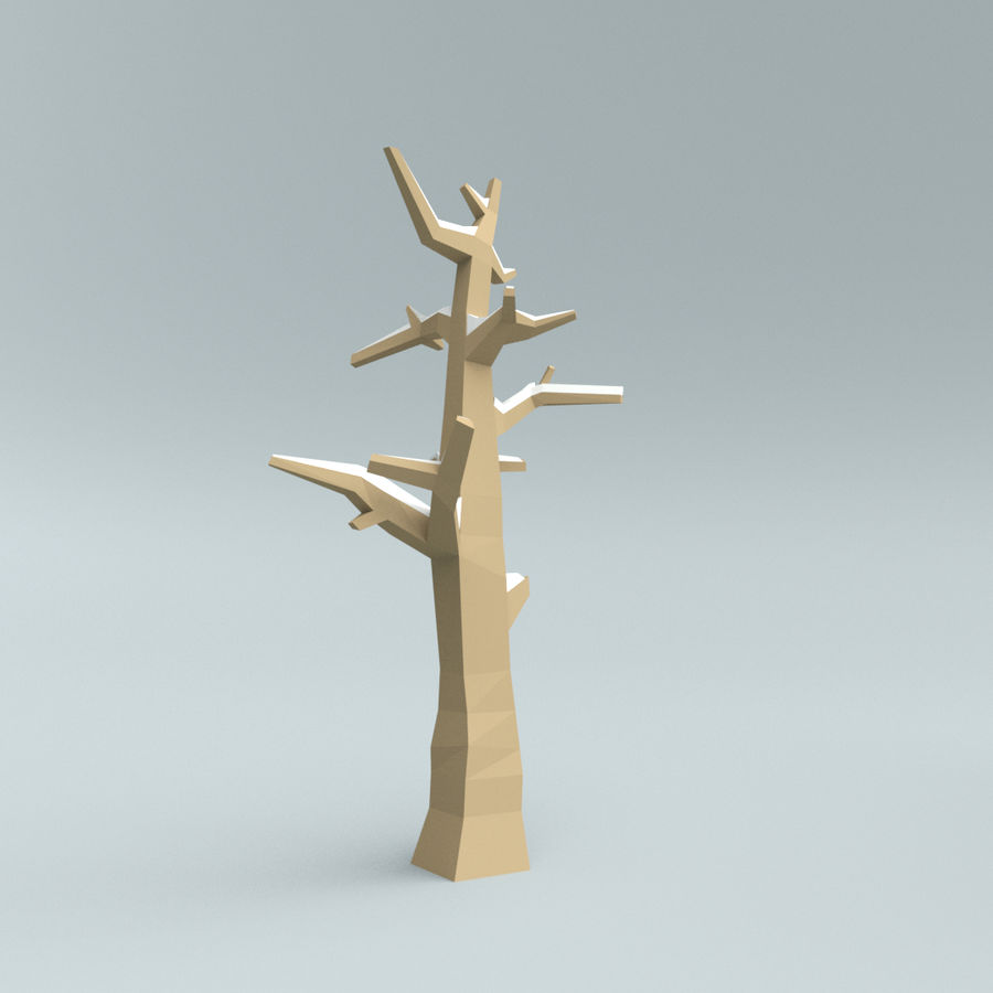 Low poly winter trees royalty-free 3d model - Preview no. 5