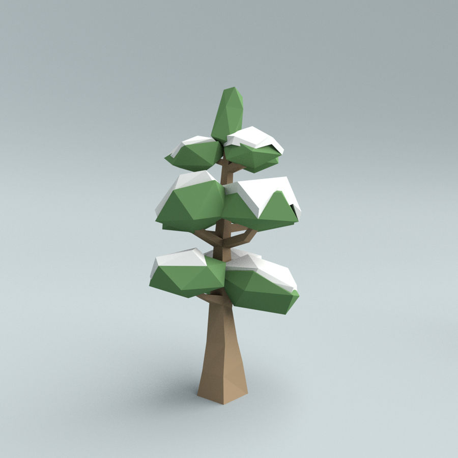 Low poly winter trees royalty-free 3d model - Preview no. 3