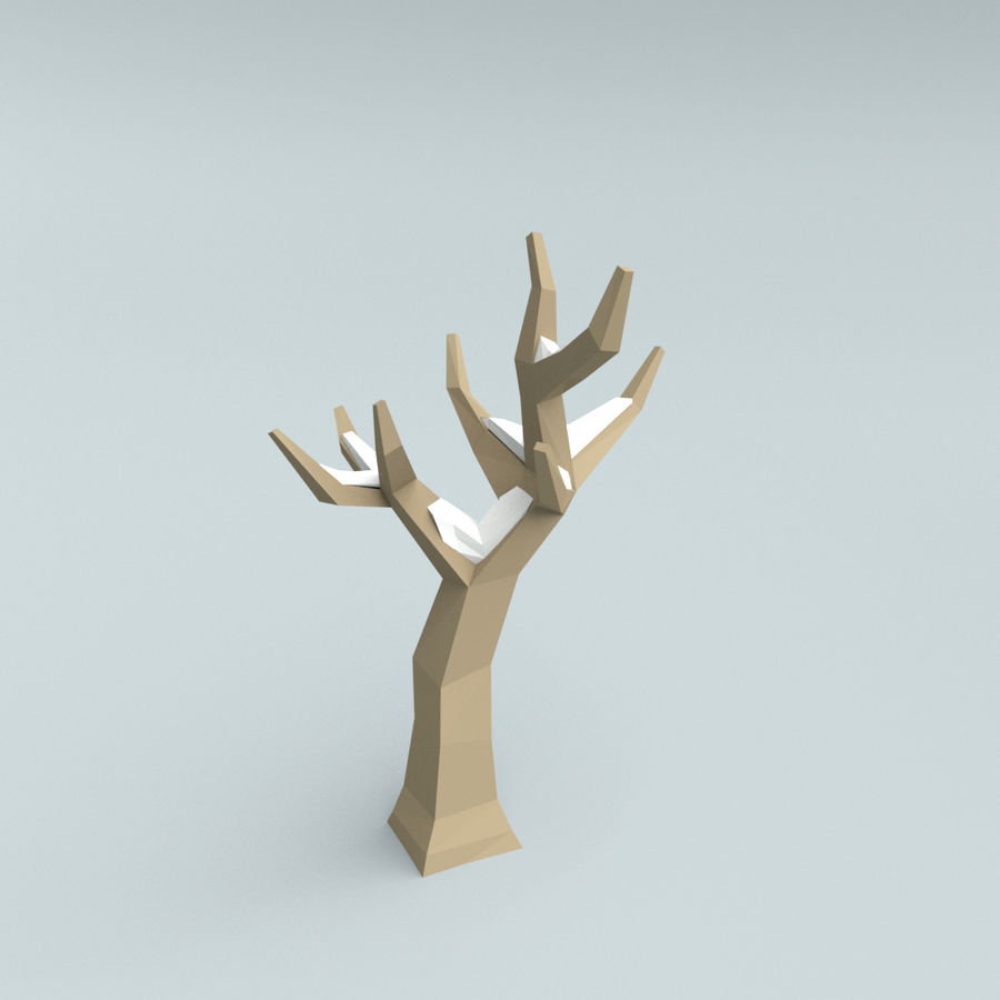Low poly winter trees royalty-free 3d model - Preview no. 6
