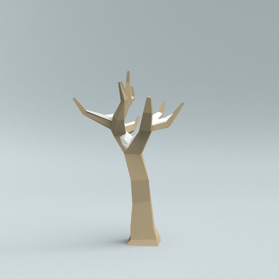 Low poly winter trees royalty-free 3d model - Preview no. 7