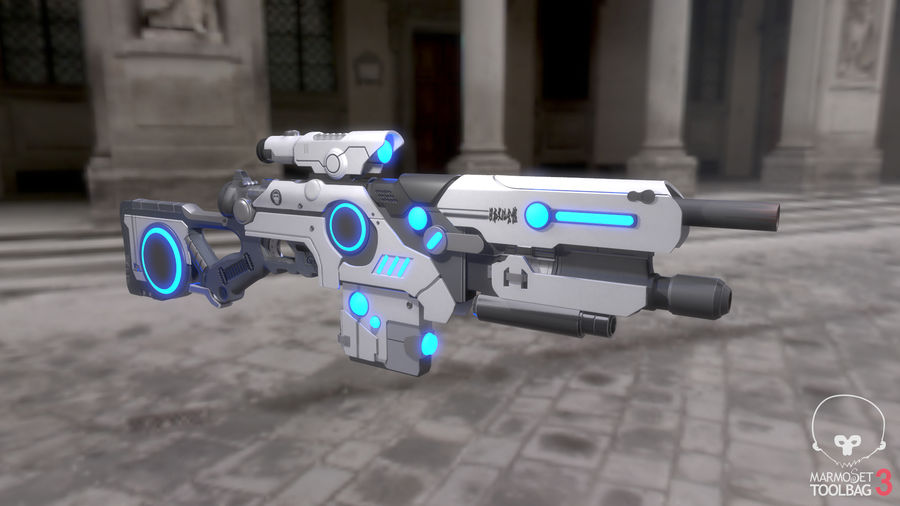 Sci-Fi Weapon royalty-free 3d model - Preview no. 7