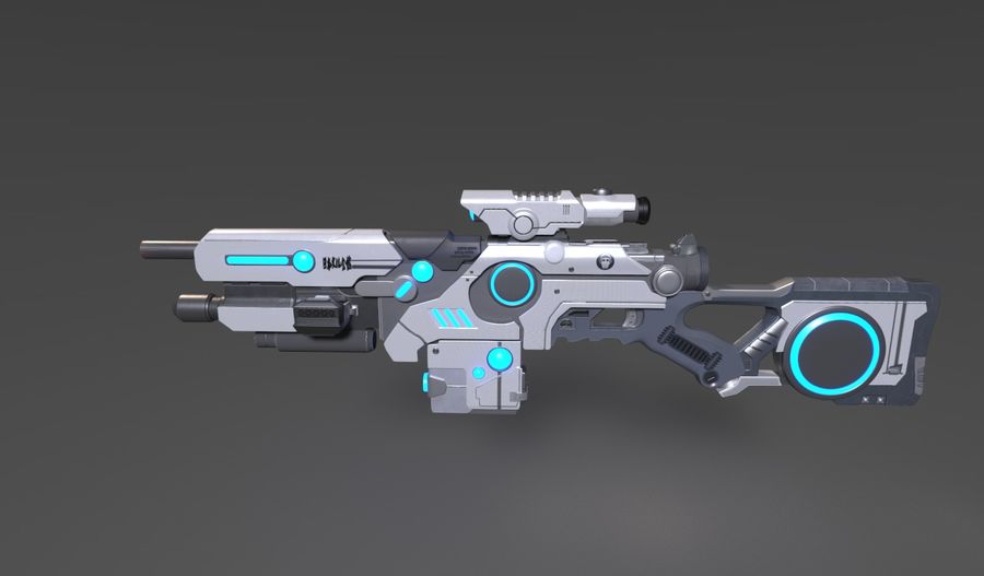 Sci-Fi Weapon royalty-free 3d model - Preview no. 4