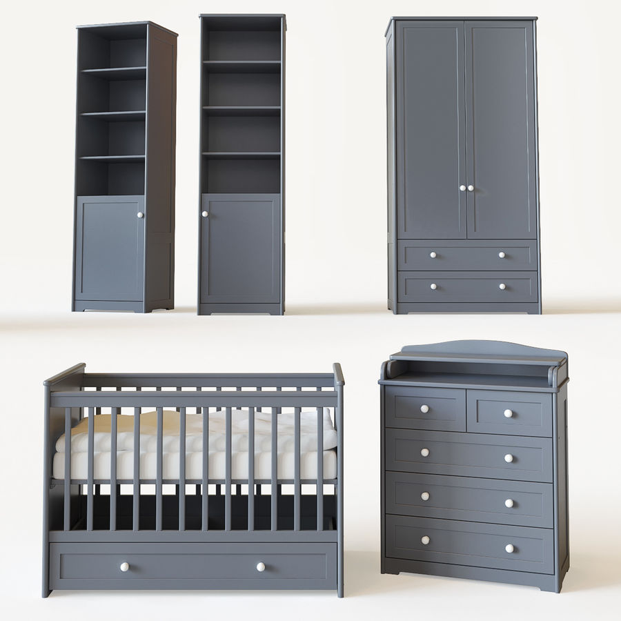Conjunto de muebles para niños. royalty-free modelo 3d - Preview no. 1