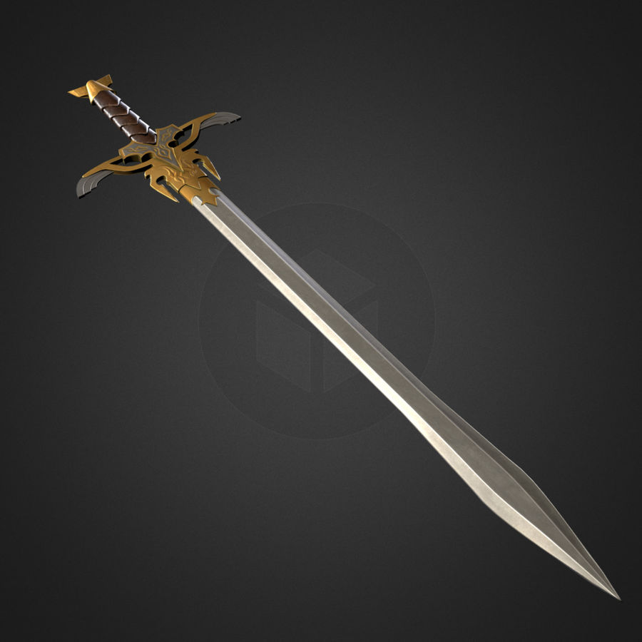Fantasy Sword [Game ready] royalty-free 3d model - Preview no. 2