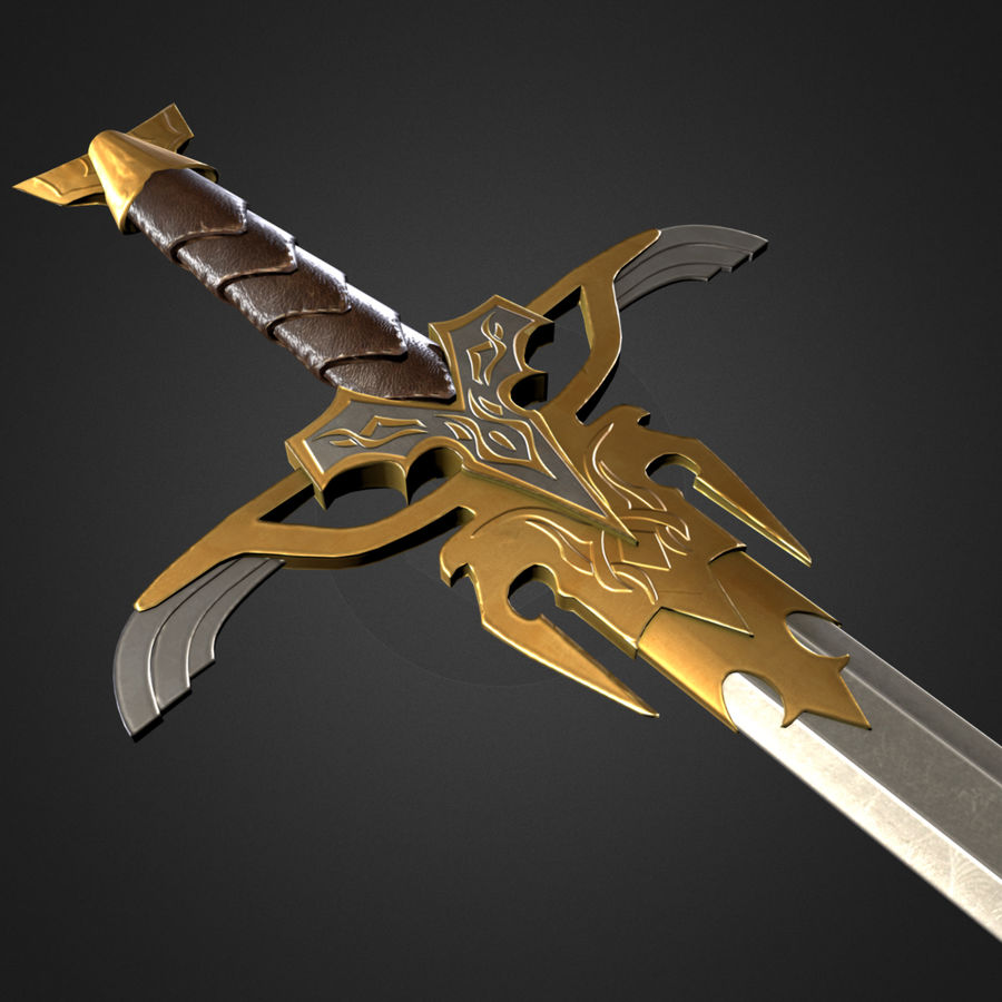 Fantasy Sword [Game ready] royalty-free 3d model - Preview no. 1
