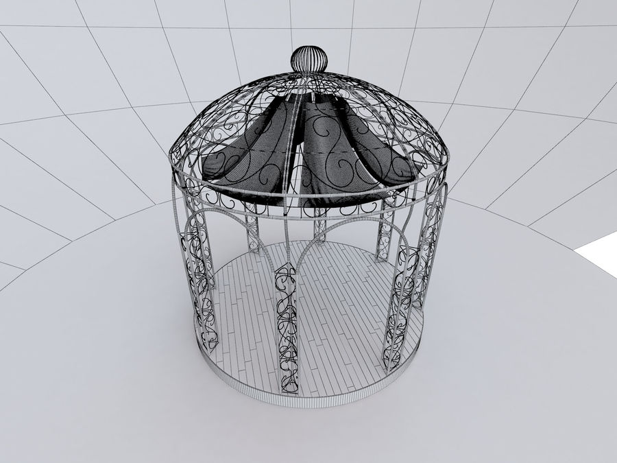 Steel Garden Gazebo With Greenery royalty-free 3d model - Preview no. 6