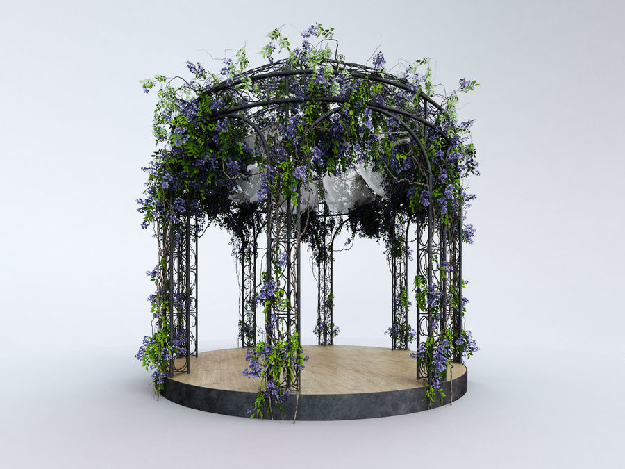 Steel Garden Gazebo With Greenery royalty-free 3d model - Preview no. 2
