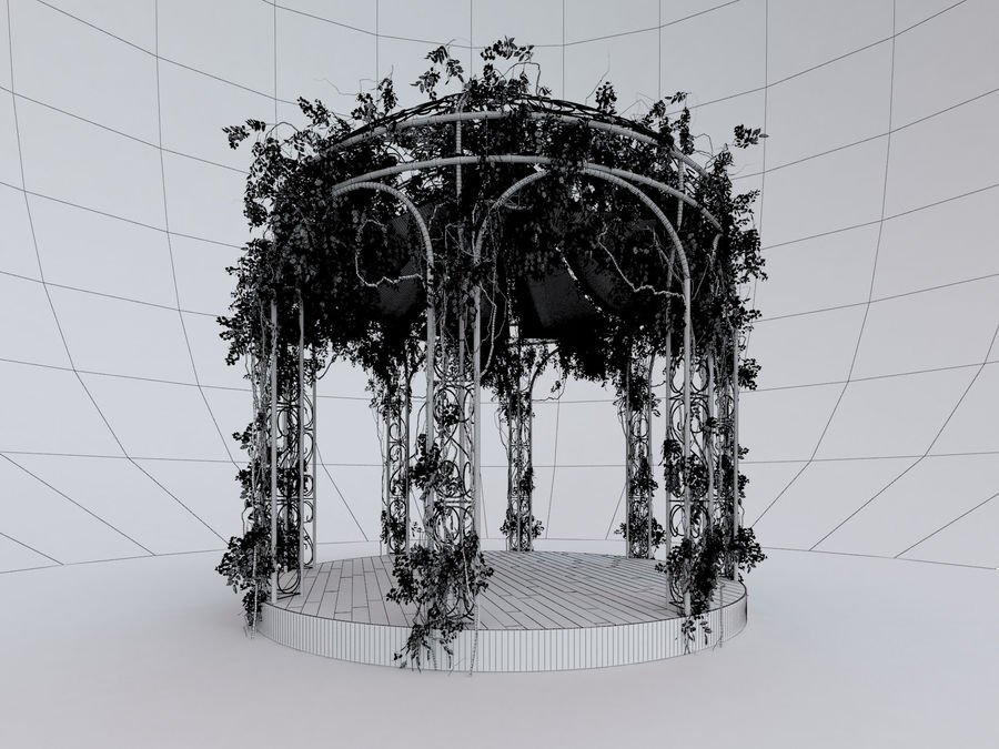 Steel Garden Gazebo With Greenery royalty-free 3d model - Preview no. 5